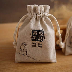 small printed linen tea bag indian linen fabric drawstring bag pouch
