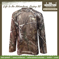Customize quick dry military hunting polyester long sleeve T shirt camo