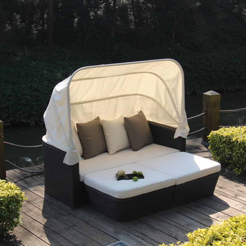 Outdoor wicker rattan chaise daybed round with cheap price