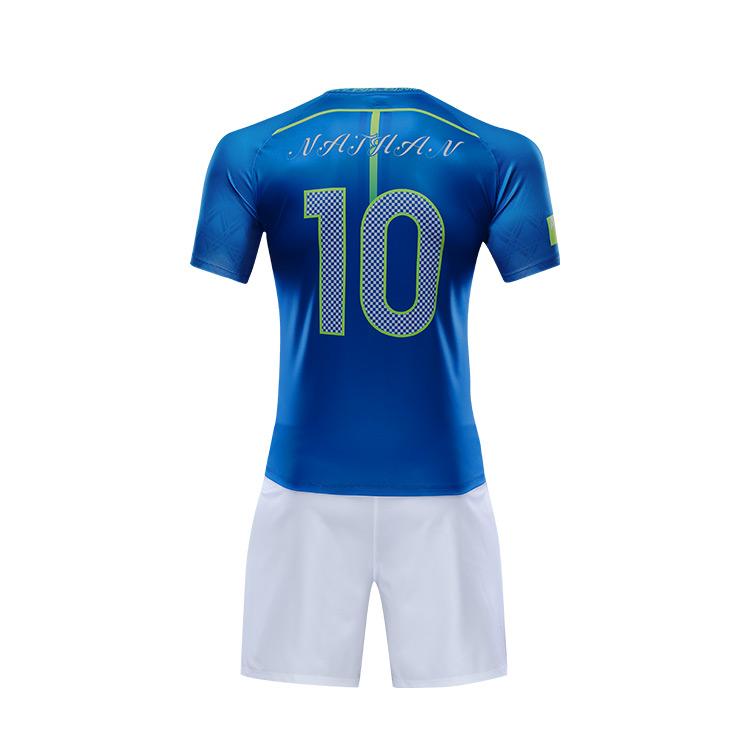Zhouka Custom Blue And White Soccer Uniform Wholesale 2018 New Item Sublimation  Full Set Soccer Uniform 4e5c956ca