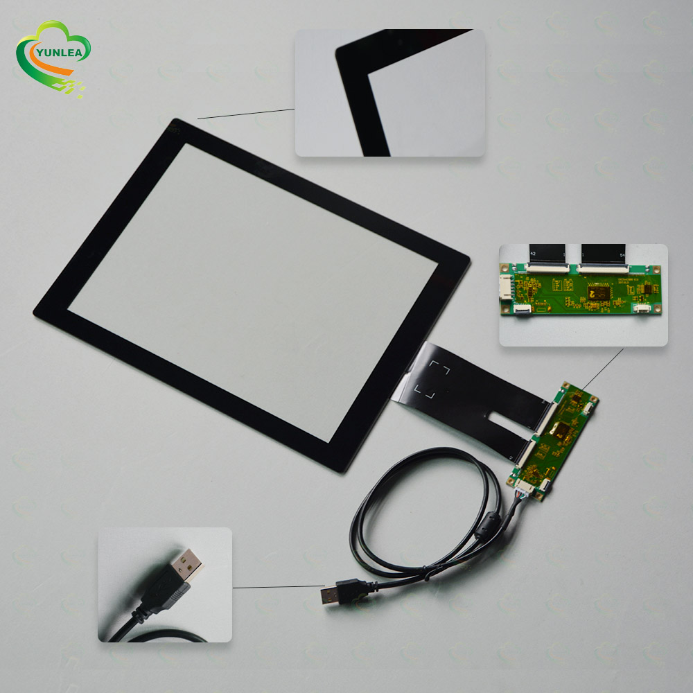 YUNLEA angepasst RS232 USB I2C 10 punkte touch für industrie gerät 12,1 zoll kapazitive touch panel screen glas