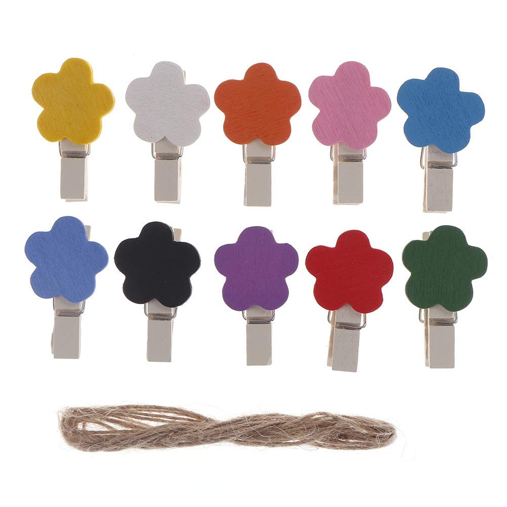 10 PCS Assorted Color Wooden Photo Clips 3.5cm Flower Number Picture Pegs Mini Paper Craft Clips with 1.2m Natural Twine