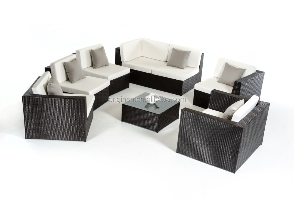 Classic Cozy Modular Sofa With Wicker Single Chair For