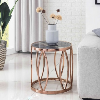 Article Designed Artificial Marble Side Table Stainless Steel Rose Gold Color Base Living Room Sofa Table Modern