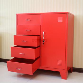 Living Room Furniture Corner Red Metal Storage Cabinet Drawers