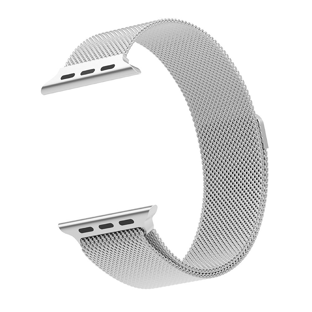 Cambond Apple Watch Band 42mm Series 2 and Series 1 Durable Fully Magnetic Closure Clasp Mesh Loop Milanese Stainless iWatch Band Strap Replacement for Apple Watch Edition 42mm Silver