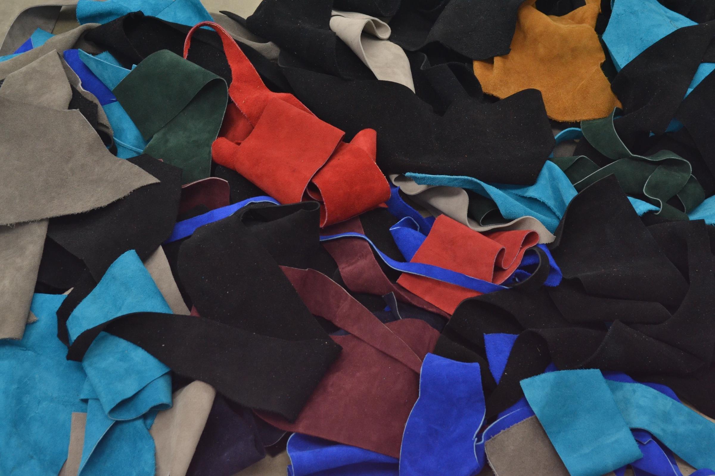 Cow Leather Scrap Multi Color Suede 3-5oz Hide Pieces 1 Pound 1/2-2 sf