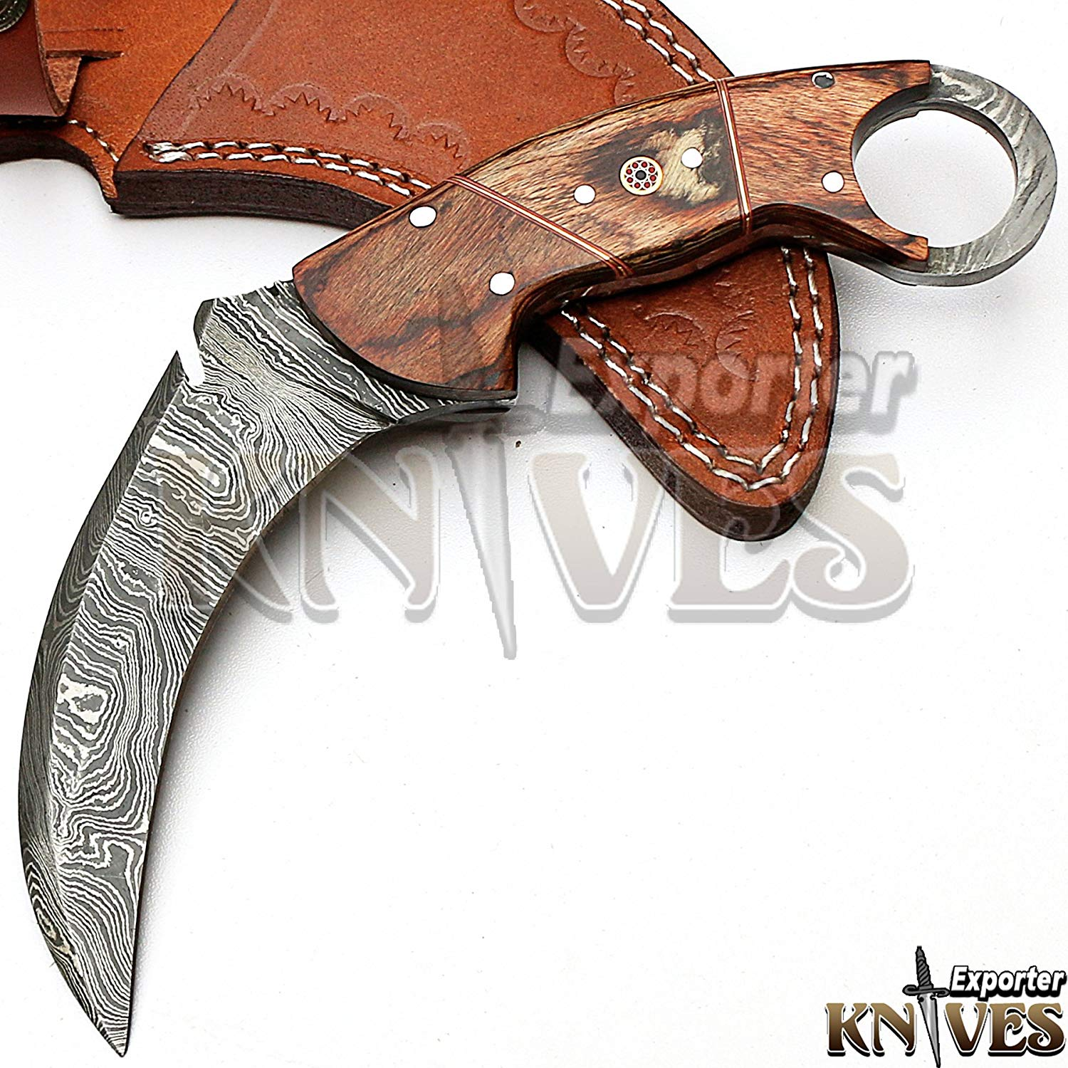 Custom Hand Made Damascus Steel Survival Karambit Knife KE-321 / Wooden Handle