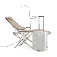 Adjustable High Strength Steel Construction Lightweight Hospital Portable Dental Chair With Operation Light