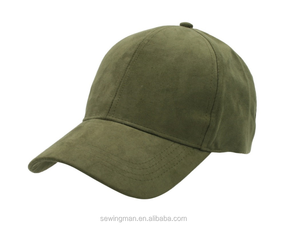 6 Panel Faux Suede Leather Classic Adjustable Plain Hat Baseball Cap