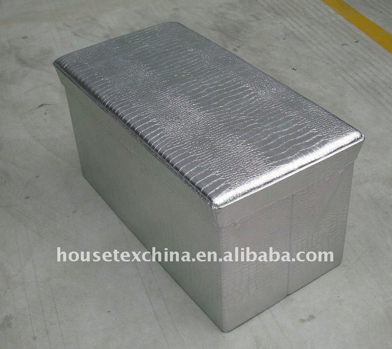 silver leather rectangle folding storage bench
