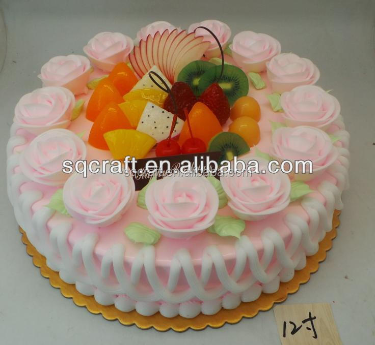 Artificial Birthday Cake Model For Shop Sample Display Realistic Fake Fruit