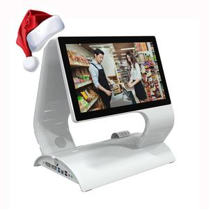 Fanless dual screen touch pos system machines for restaurants and supermarkets