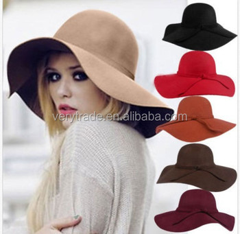 Wholesale women s blank wool felt hat wide brim floppy vintage fedora hat c0069538081e