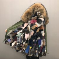 New Arrival Multi Colored Real Fox Fur Lining Fur Parka with Raccoon Fur Trim