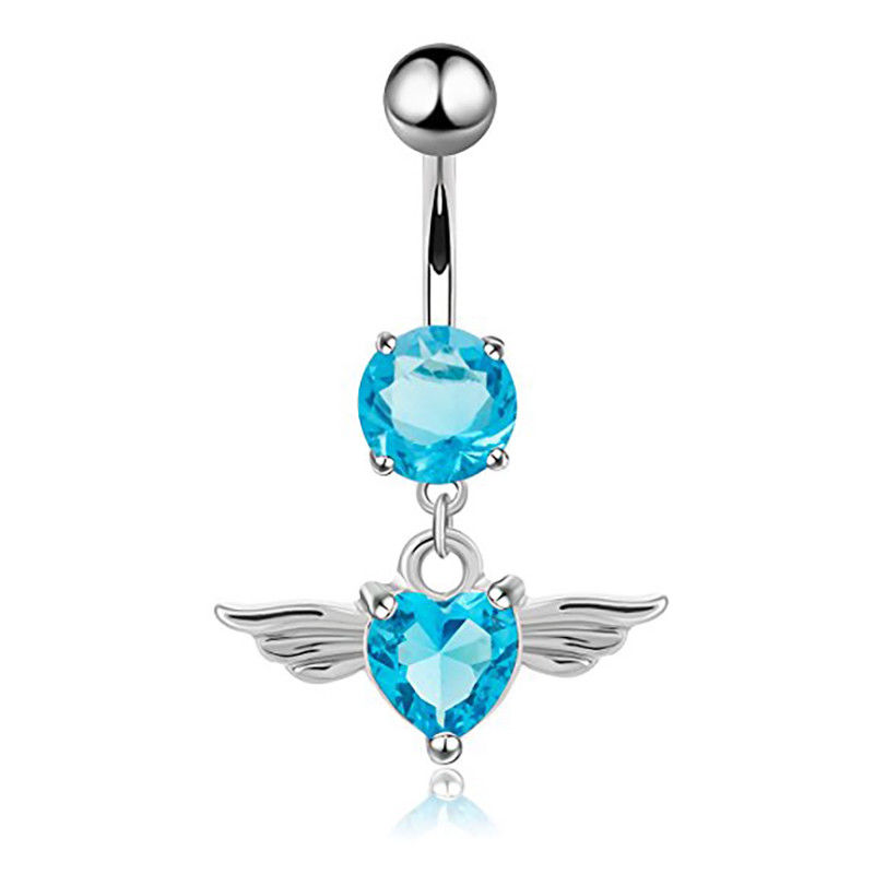 Zircon Jewelled Wing Dangle Belly Navel Rings