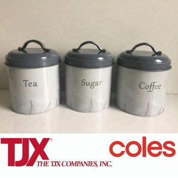 3 Piece Kitchen Storage Tea Coffee Sugar Caddy Tins Containers Canister Jars  Set