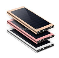 4000mah to 20000mah Solar Charger 2 USB Ports External Charger Powerbank for Smartphone with LED Light
