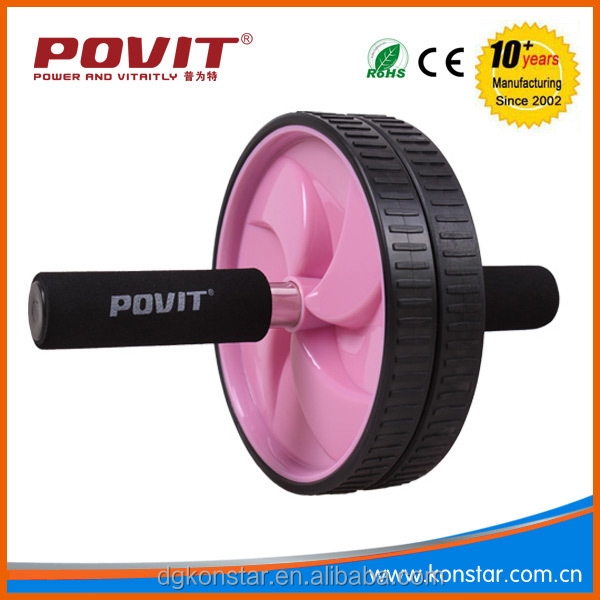 POVIT Wholesale transparency wheel private label AB roller with resistance bands , AB wheel with mat