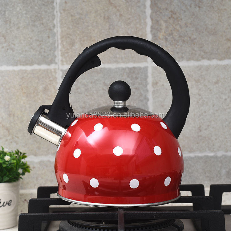 2.5L Stainless Steel Whistling Tea Kettle Teapot with Vintage Wood Grain Handle