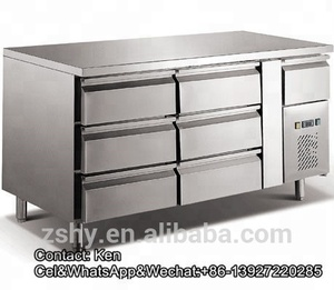 Stainless steel kitchen refrigerated cabinet with drawers