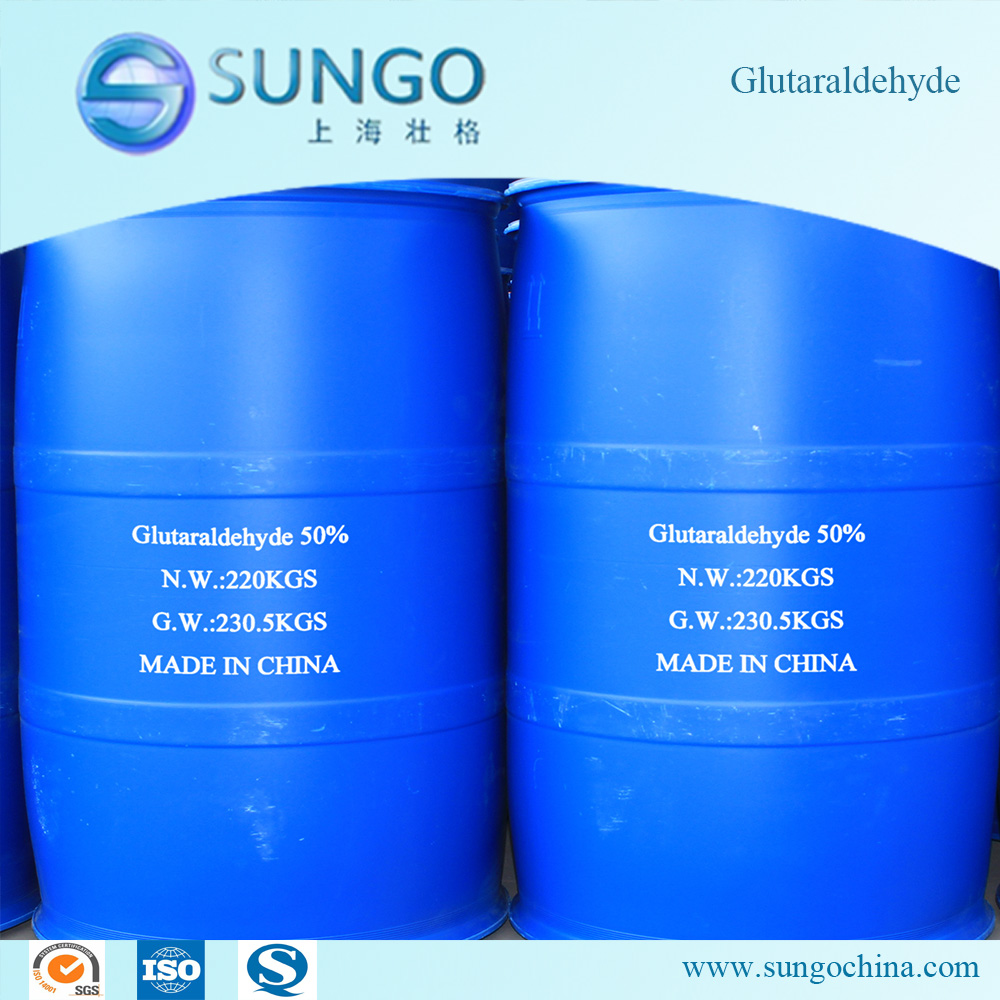 gluteraldehyde Glutaraldehyde is a water-soluble, colourless, organic liquid used as a fixative/preservative for biological specimens and as a biochemical reagent.