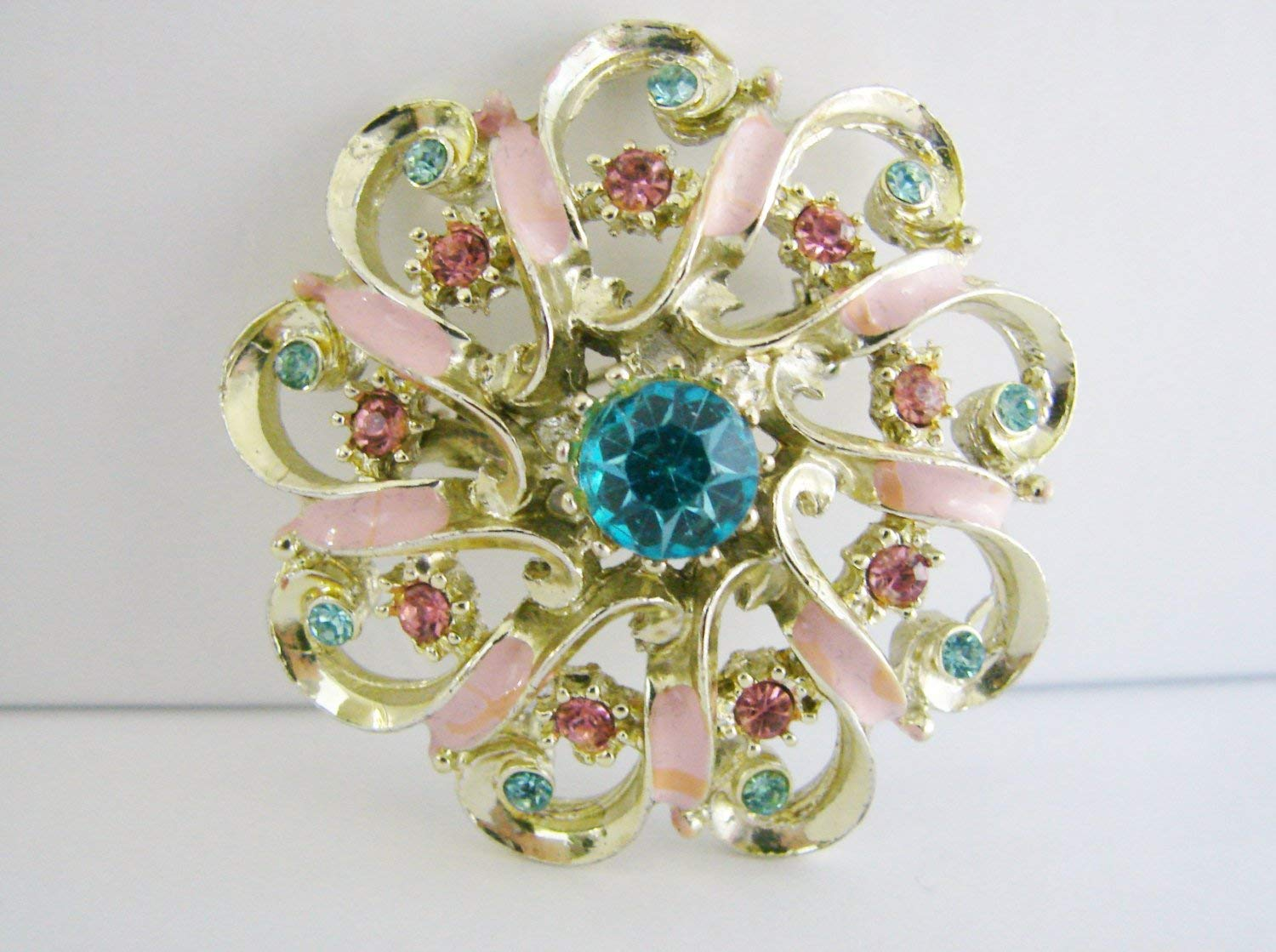 Vintage gold flower brooch with aqua blue and pink rhinestones (G3)