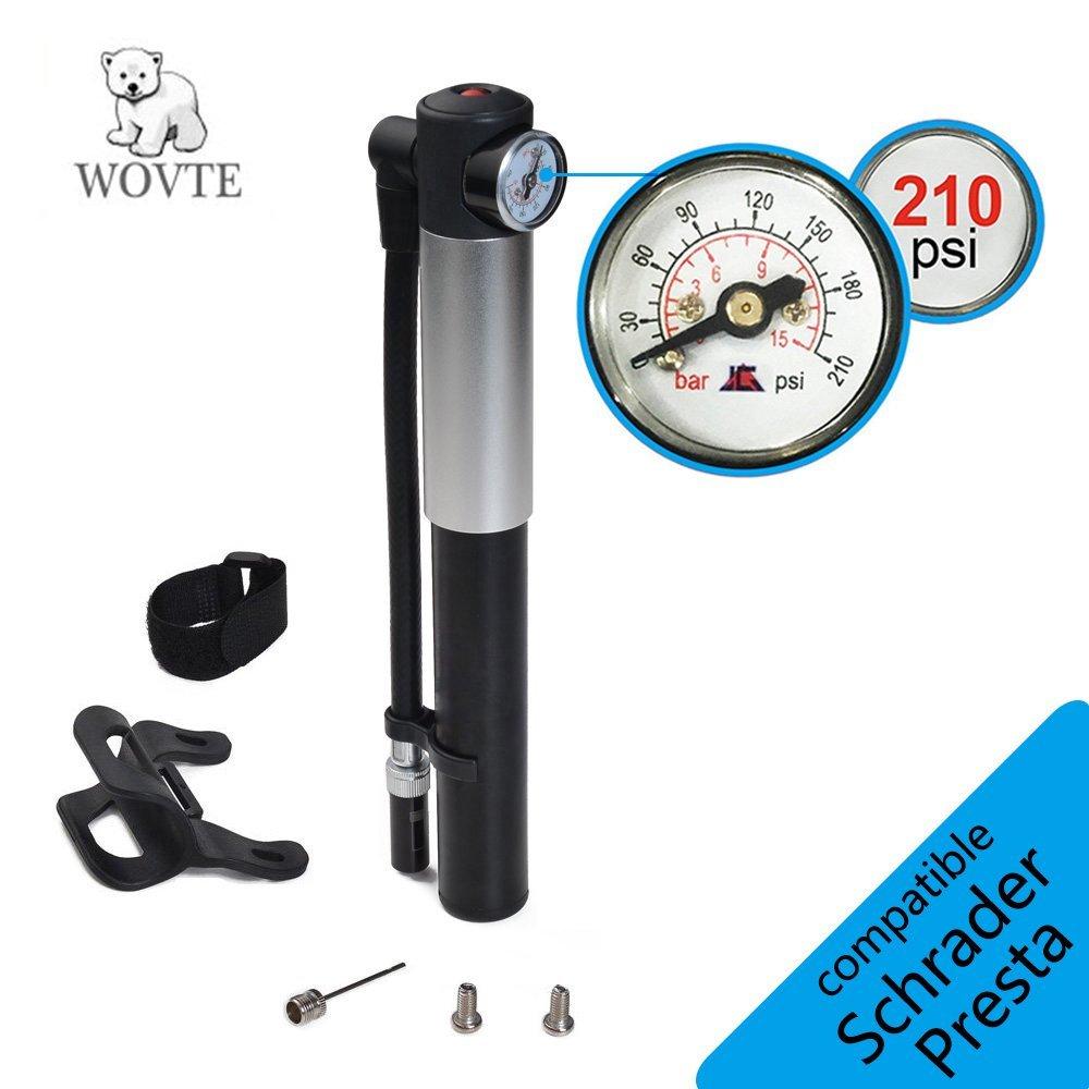 Buy WOVTE Mini Bike Pump with Pressure Gauge, 210 PSI Premium CNC ...