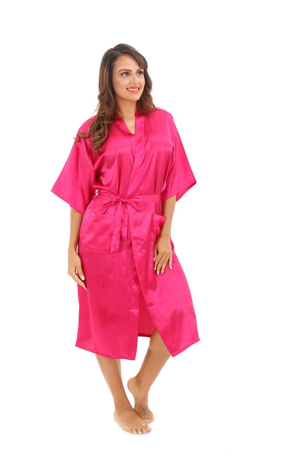 f35b70deed Get Quotations · ALJL bathrobes men and women lovers pajamas silk bathrobes  Japanese kimono comfort breathable Rose red pajamas