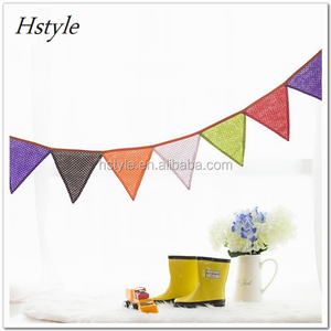 Mini Polka Dot Colorful Triangle Flag Party Banner Bunting Kids Tent Decoration PL531