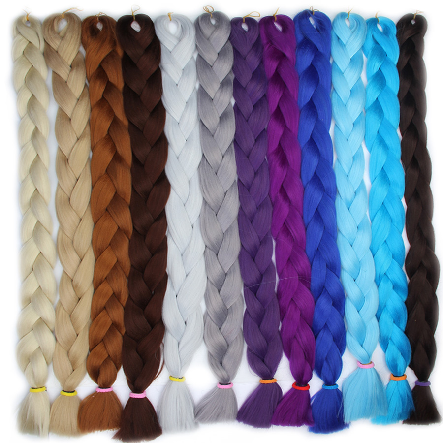 Falemei 82inch 165g Pack Jumbo Kanekalon Braiding Hair Extensions Synthetic Braids Colors For African