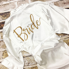 Drop verzending Bachelorette party white satin bruid gewaad Bridal Party Gewaden