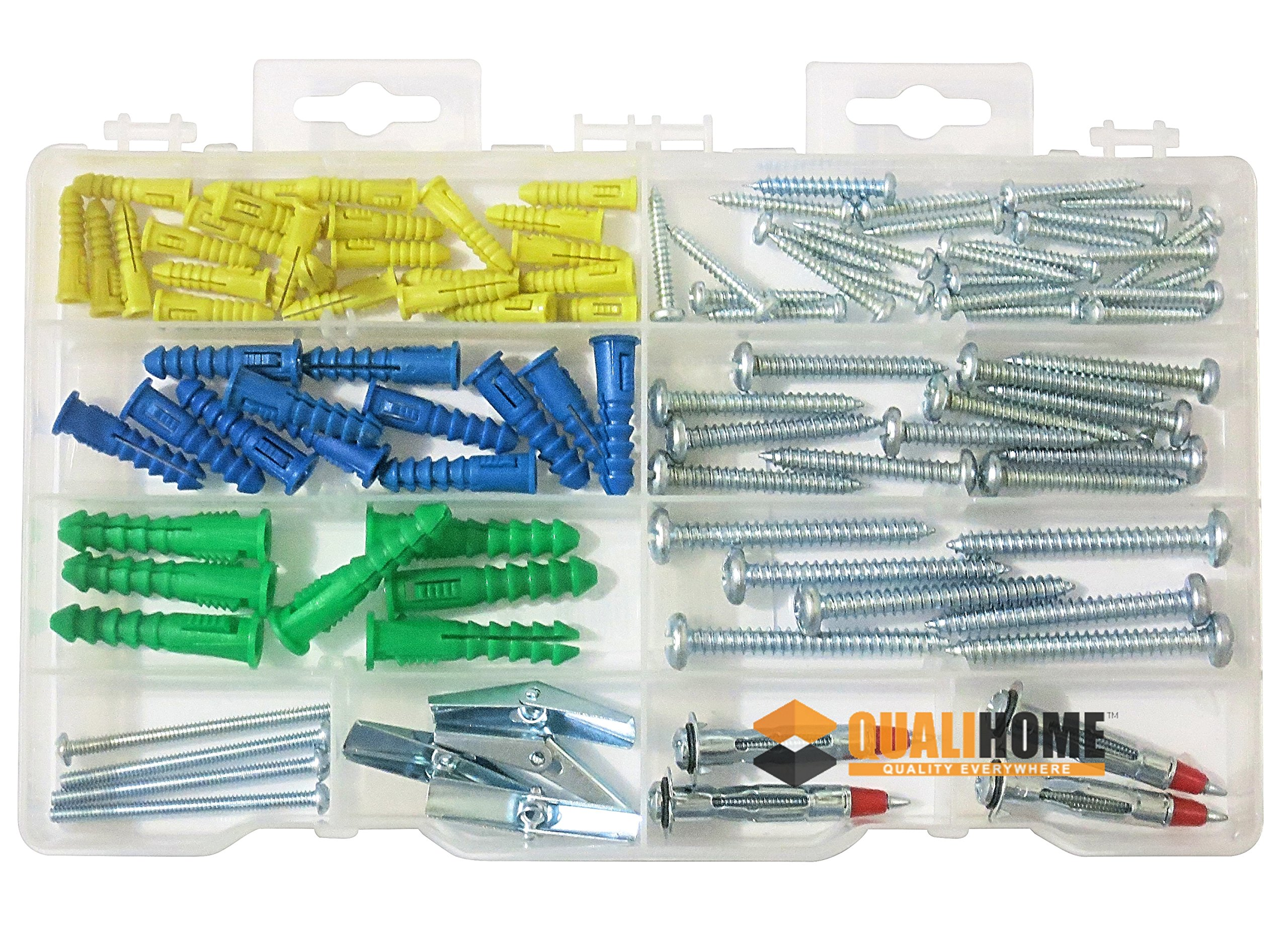Qualihome Drywall and Hollow-wall Anchor Assortment Kit, Anchors, Molly Bolts, Screws, and Toggle Bolts Wings