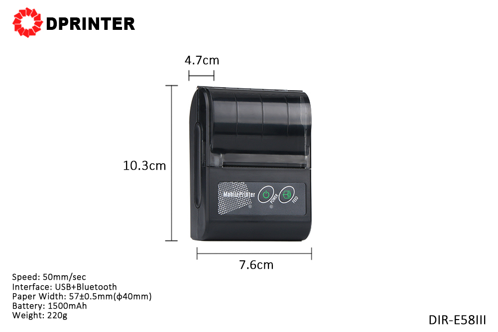 Dprinter Mini 58MM Mobile Bluetooth Portable Thermal Receipt Printer POS Printer