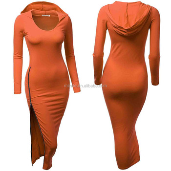 Hoody Dresses for Women Casual Clothing 95% Cotton 5% Spandex Womens Fitted Dress with Sexy Side Zipper Point Sexy Dresses