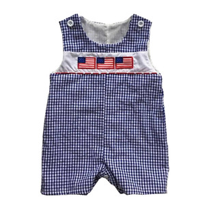 06b17267da58f 2019 hot sale baby boys summer romper 4th of july cotton seersucker  shortall applique little boy jon jon rompers