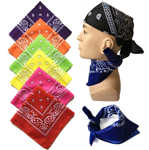 Wholesale fashion custom printed cotton polyester handkerchief bandana