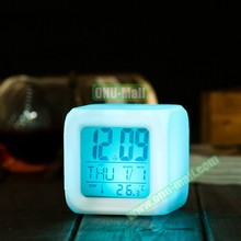 Hot Sales 7 Colors LED Light Themes Digital Alarm Clock