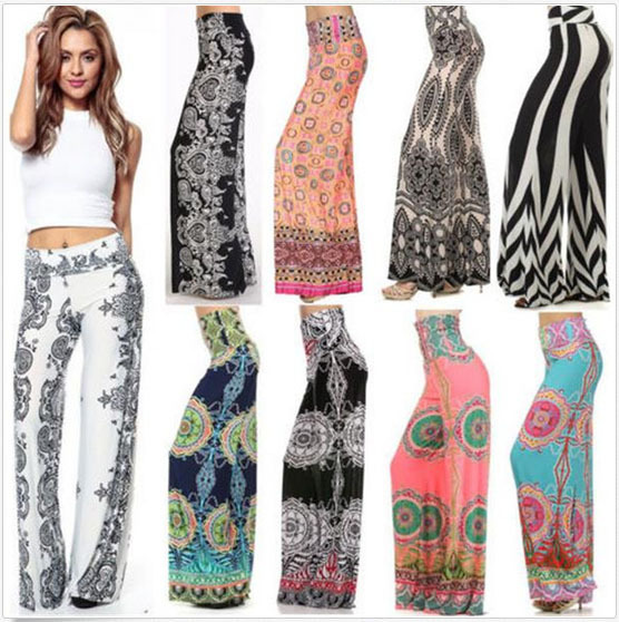 Summer Casual Loose Ladies Wide Leg Pants Trousers Fat Woman Pants ...