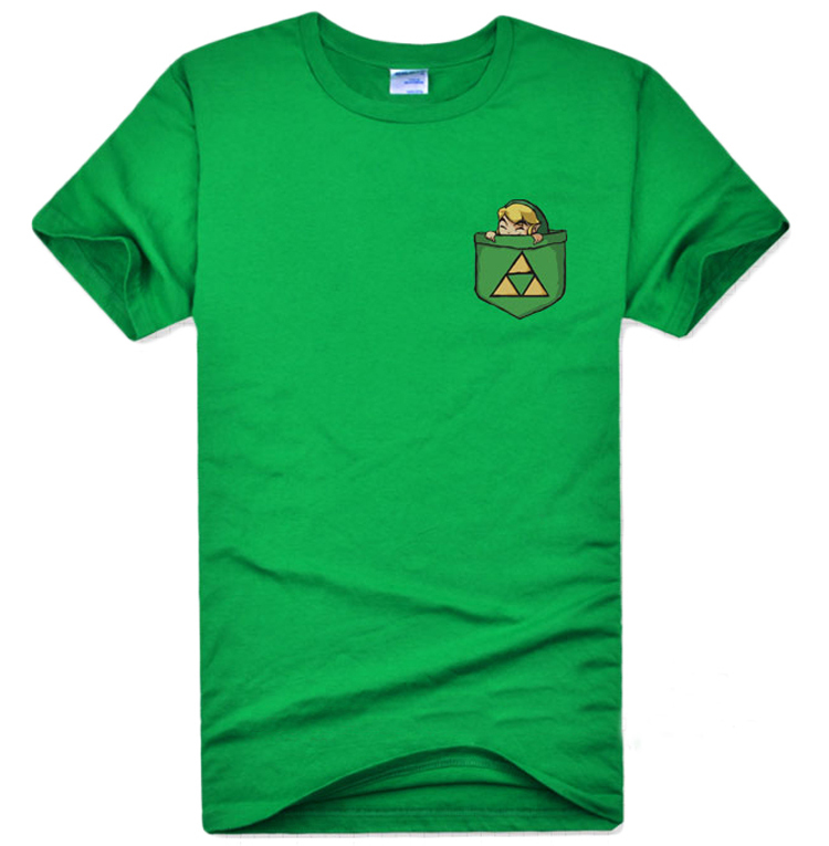 Green The Legend of Zelda Link T-shirts Cotton Triforce Pattern Short Sleeve O-Neck Tee Shirts for Adult