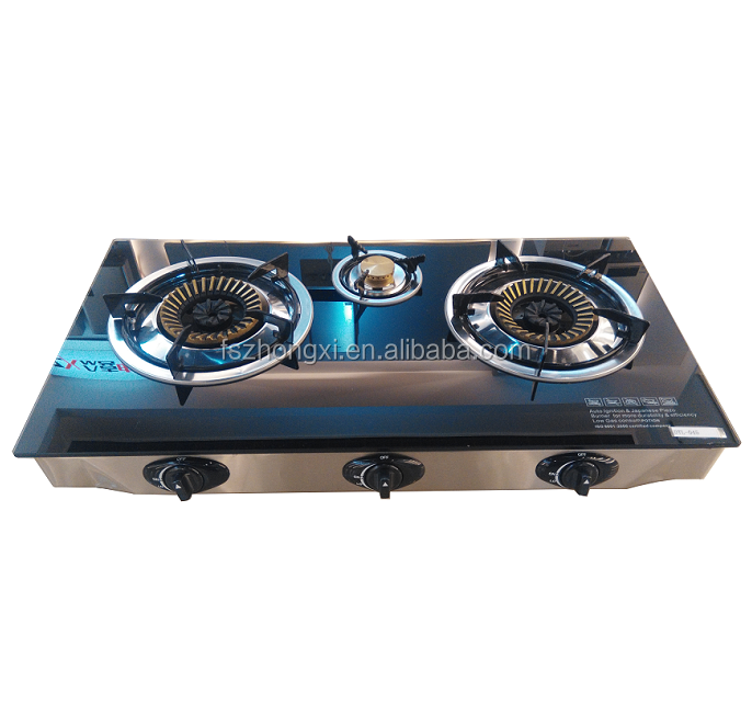 High Quality Tempered Glass Gas Cooker 3 Burner Gas Stove