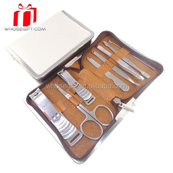 Luxury Leather Nail Manicure Pedicure Kitnail Art Set Ladies White