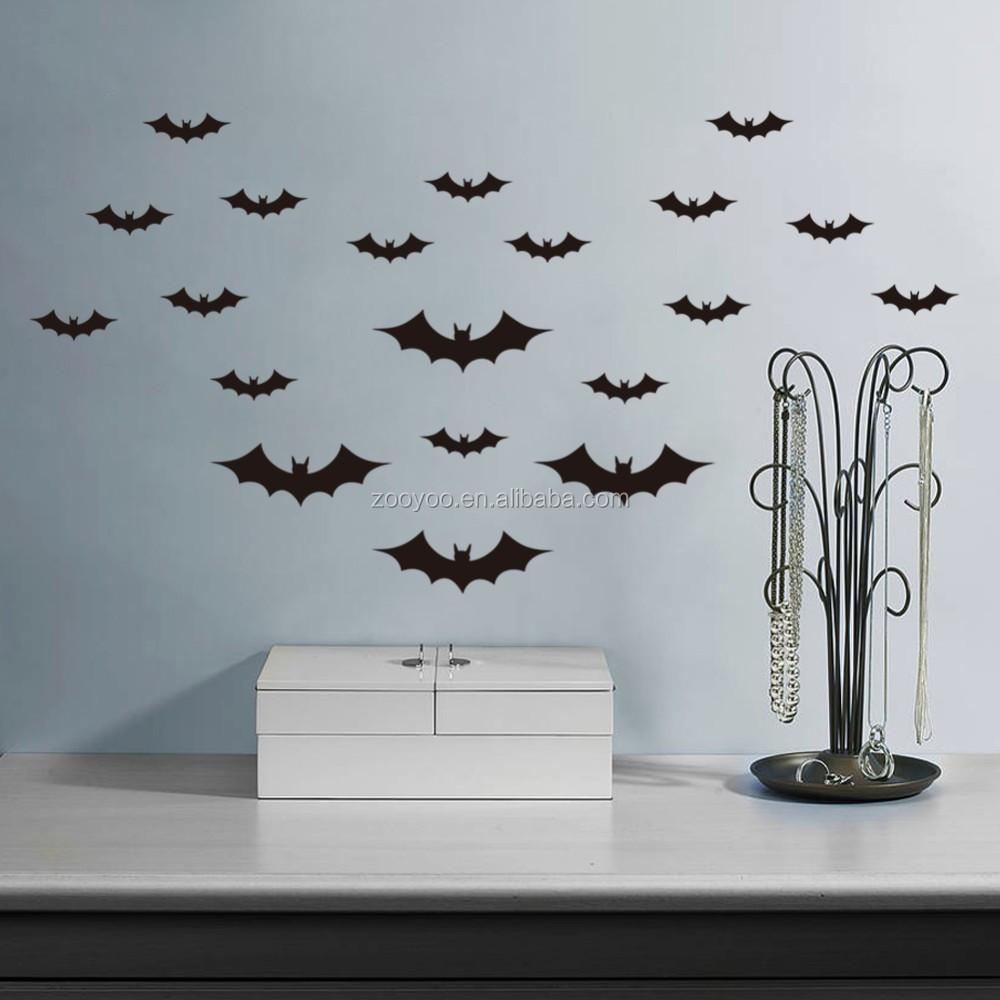 Verwijderbare vinyl muursticker stickers muur bat halloween ...