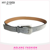 Wholesale New Women PU Leather Jeans Dress Belts with Crystal Studded Custom Lady Fancy Rhinestone Belt