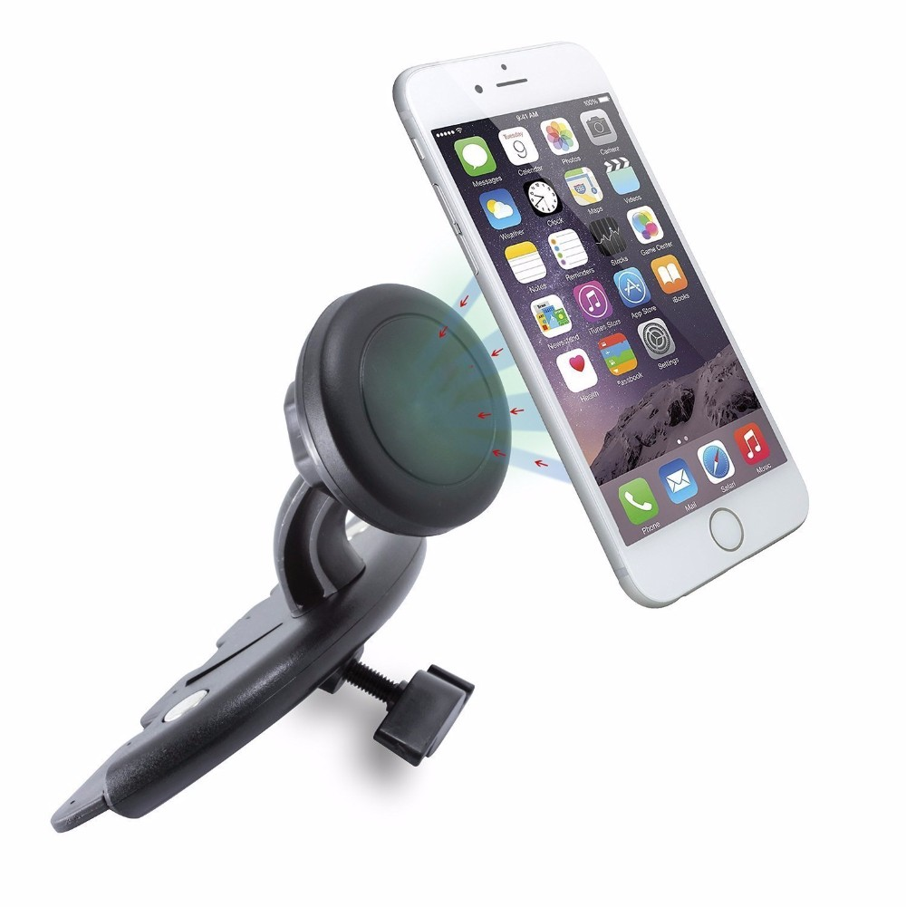 2017 newest design 360 degree rotation magnet universal cd slot cell phone mount with quick release button