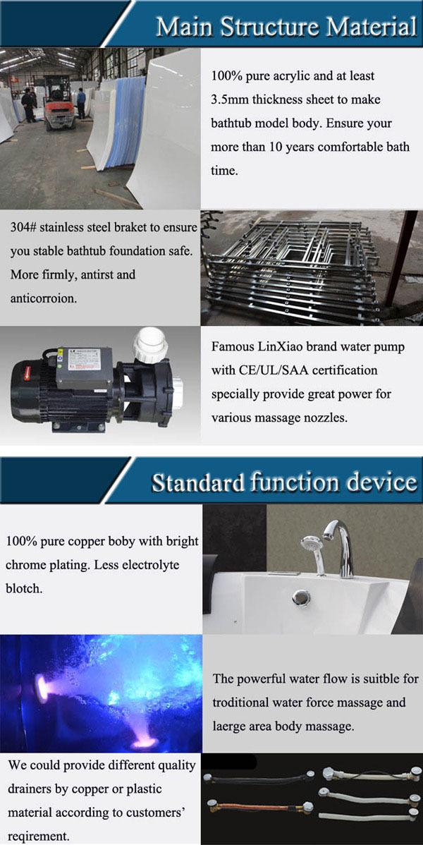 Acrylic Hydrotherapy Bath Sanitary, Hydromassage Bath Tubs