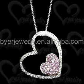 Real crystal 925 sterling silver necklace pendents pink heart pendant necklace for women