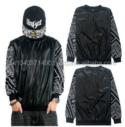 NEW graffiti hip-hop men's sleeve t-shirt clothes casual man Long sleeve/Bandana Print Black White