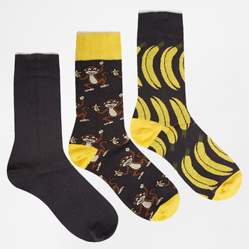 3 Pack man sock with Banana and Monkey Design