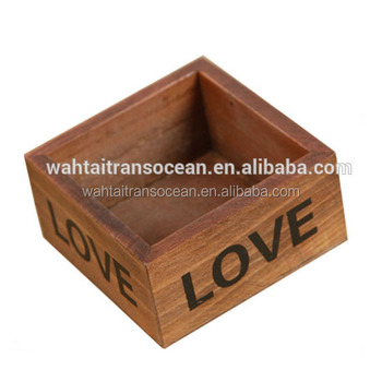 Retro Wooden Storage Box Square Pots Love Theme Flowerpot Home Decor
